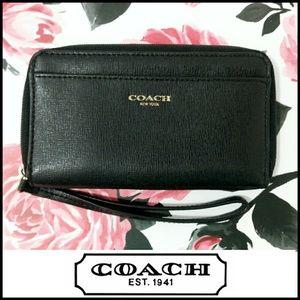 Coach Black Leather Small Wristlet Wallet